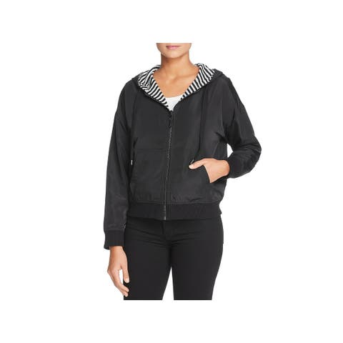Kenneth Cole New York Womens Kam Hoodie Reversible Crop