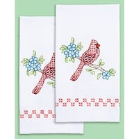 """Stamped White Decorative Hand Towel Pair 17""""X28""""-Cardinal"""