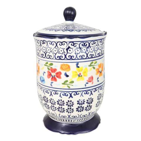 Gibson Luxembourg 2.72 Qt Canister W/Lid Hand Painted Stoneware