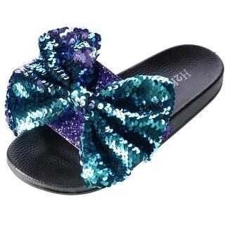 H2K Women's Slide Slipper with Sequin Bow