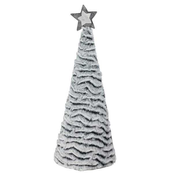 "17"" Winter's Beauty Grey Fur Cone Christmas Tree Table Top Decoration"