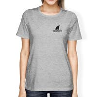 Mini Shark Grey Womens Short Sleeve Graphic T-Shirt Summer Outfit