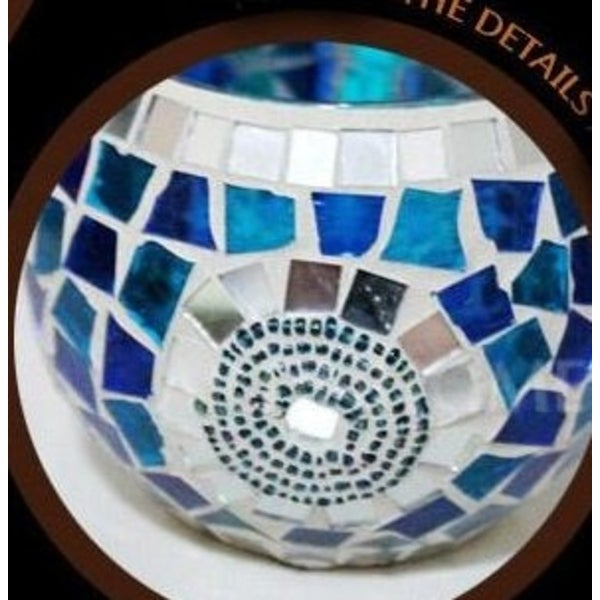 Mosaic Glass Blue Circle Candle Holder. Opens flyout.