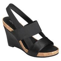Aerosoles Women's Magnolia Plush Slingback Sandal Black Faux Leather/Elastic