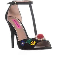 Betsey Johnson Lenox Gemstone Ankle Strap Sandals, Black