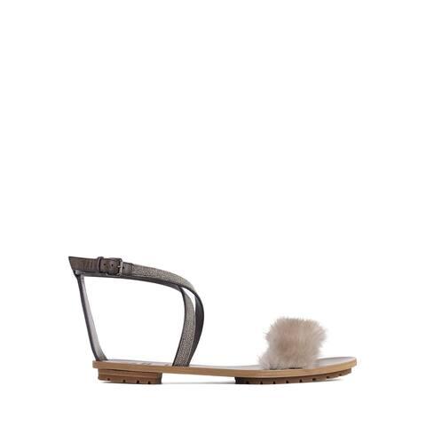 Brunello Cucinelli Grey Fur Embellished Ankle Strap Sandals