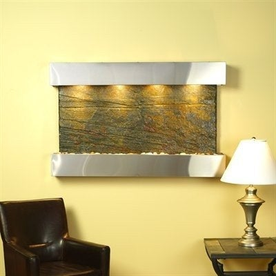 Adagio Sunrise Springs With Green Natural Slate in Stainless Steel Finish and Sq