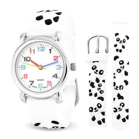 Black White Zoo Panda Wrist Watch Quartz 3D Cartoon Silicone Wristband