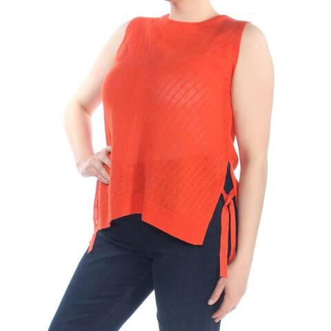 LUCKY BRAND Womens Orange Side Tie Sleeveless Sweater Size: XL