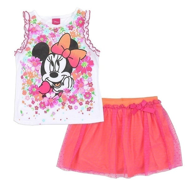 8788275a633 Shop Disney Little Girls Pink Minnie Mouse Flower Print 2 Pc Skirt Outfit - Free  Shipping On Orders Over  45 - Overstock - 21335622