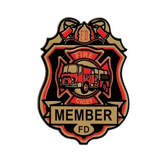 Club Pack of 12 Plastic Red, Black and Gold Fire Chief Badges With Clip