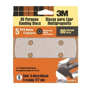 3M 9147 Hook And Loop Vented Sand Disc, 80 Grit