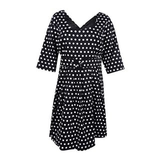 City Chic Women's Plus Size Dot-Print Fit & Flare Dress (XXL, Black)