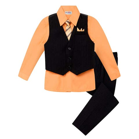OLIVIA KOO Boys Colored Shirt Pinstripe 4 Piece Pinstriped Vest, Orange, Size 10