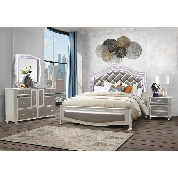 Global Furniture Usa Silver Metallic Remi Nightstand Overstock 31227012