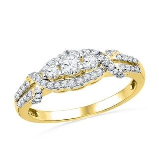 10kt Yellow Gold Womens Round Natural Diamond 3-stone Bridal Wedding Engagement Ring 1/2 Cttw - White