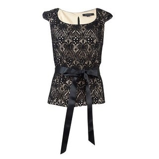 R&M Richards Women's Belted Sequined Lace Zip Top - black/taupe