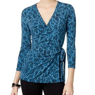 Anne Klein NEW Blue Women's Size XL Printed Faux Wrap V-Neck Blouse