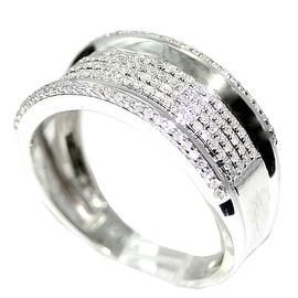 Mens Diamond Wedding Band Ring 10K White Gold .45cttw 10mm Wide Pave Set Ring
