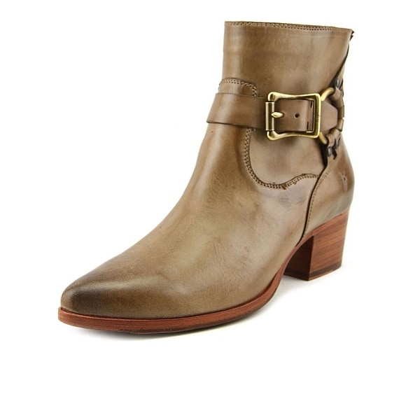 Frye Zoe Ring Short Women Pointed Toe Leather Tan Ankle Boot