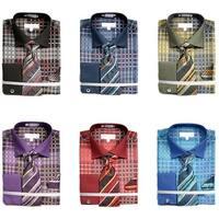 Men's Checkered Pattern Tone on Tone Dress Shirt French Cuffs Tie Hanky Cufflinks