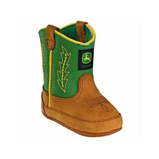 John Deere Western Boot Boy Crib Stitched Crazy Horse Tan Green JD0186