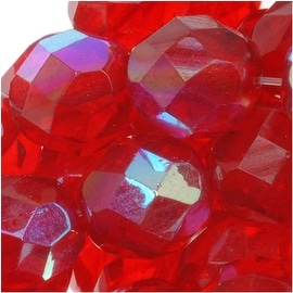 Czech Fire Polished Glass Beads 8mm Round Red Ruby AB (25)