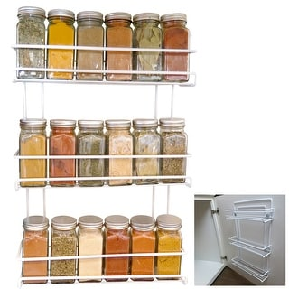 Link to Evelots Spice Rack-3-Tier-Door/Wall Mounted-Coated Wire-Can Store 18 Bottles Similar Items in Kitchen Storage