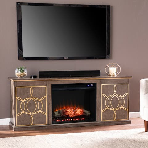 The Curated Nomad Ysidro Transitional Brown Electric Fireplace Console