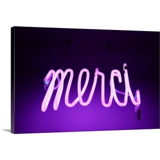 """Pink and purple Neon light sign saying merci "" Canvas Wall Art"