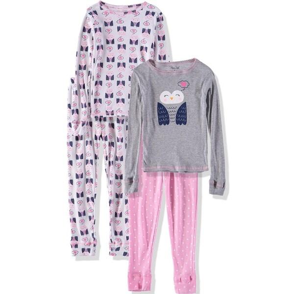 aa89796f9451 Shop Rene Rofe Girls 2T-4T Owl 4 Piece Pajama Set - grey - Free ...