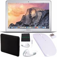 "Apple 13.3"" MacBook Air Laptop Computer 256GB + White Wired Earbuds Headphones + Padded Case + Optical Wireless Mouse Bundle"