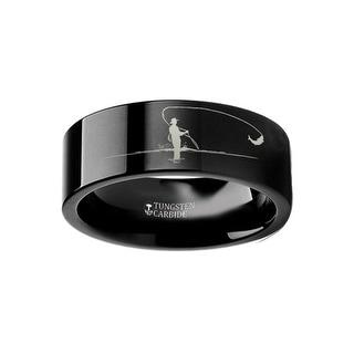 THORSTEN - Hunting Landscape Scene Fly Fishing Fishermen Fish Ring Engraved Flat Black Tungsten Ring - 4mm