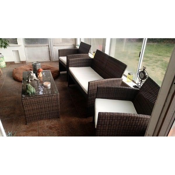 Shop Costway 4 Pcs Outdoor Patio Rattan Wicker Furniture Set Table