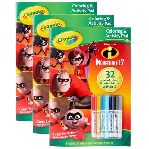 Coloring & Activity Pad w/Markers, Incredibles 2, Pack of 3