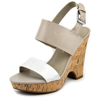 Franco Sarto Gardenia Open Toe Leather Wedge Heel