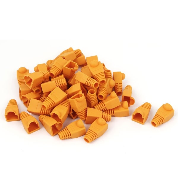 50pcs Ethernet RJ45 Cable Connector Boots Plug Cover Cap Orange