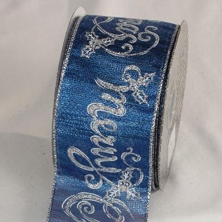 """Sapphire Blue and Silver Merry Christmas Wired Craft Ribbon 2.5"""" x 20 Yards"""