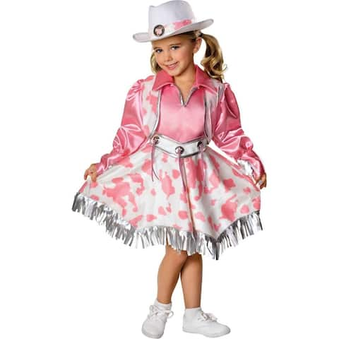 Pink and Silver Cowgirl Toddler Costume with Vest and Belt - N/A