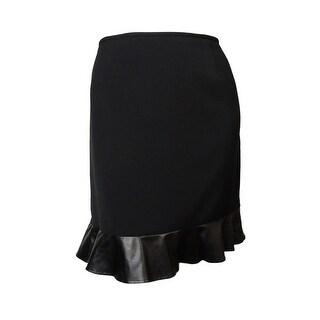 Tahari Women's Faux Leather Hem Skirt