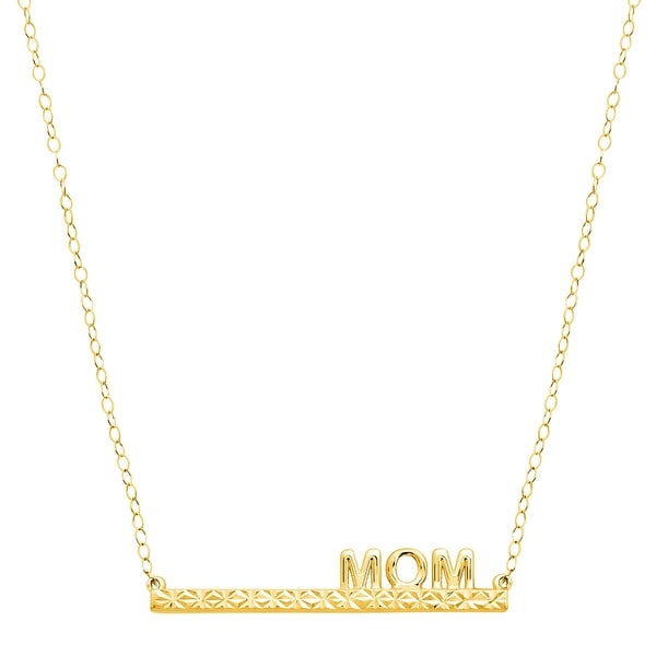 Just Gold 'Mom' Bar Necklace in 10K Gold - Yellow