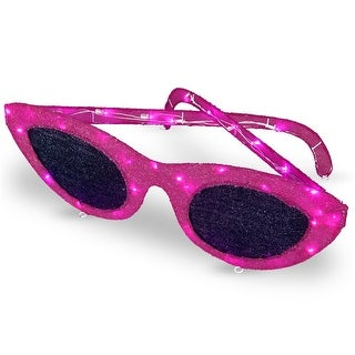 "36"" LED Pink Sisal Sunglasses Outdoor Decoration"