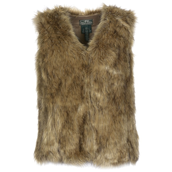 Lauren Ralph Lauren Womens Faux Fur Vest Petite Small Brown