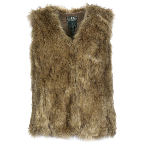 Ralph Lauren RL Active Plus Size Ladies Faux Fur Vest 1X Brown