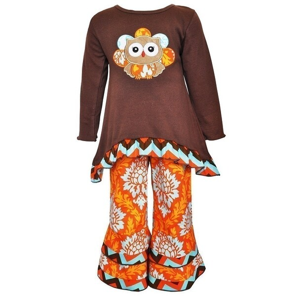 Baby Girls Brown Orange Thanksgiving Owl Leggings Outfit 12-24M
