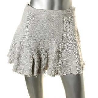 Free People Womens Frayed Mini Flare Skirt - 0