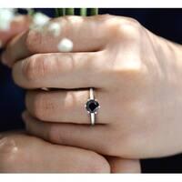 Prism Jewel 1.00 Carat Black Diamond Six Prong Engagement Solitaire Ring