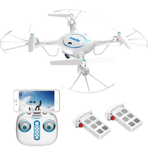 Syma X5UW Wifi FPV Drone with 720P HD Camera Extra Battery White