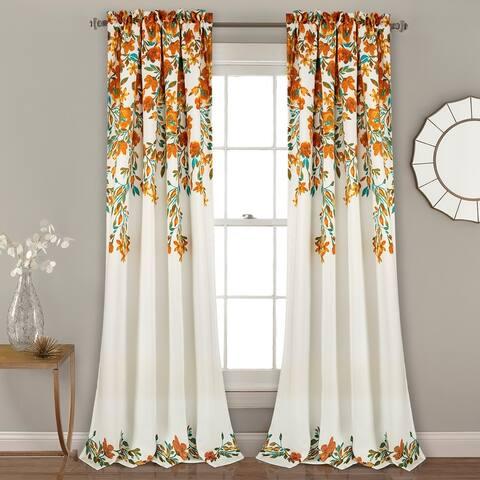 Porch & Den Elcaro Floral Room Darkening Window Curtain Panel Pair