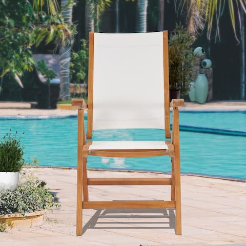 California Teak Wood Reclining Chair with White Batyline Sling